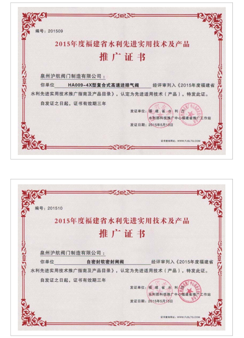 2015年度推广证书